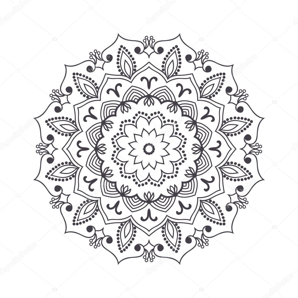 1024x1024 Hand Drawn Flower Mandala For Coloring Book. Black And White