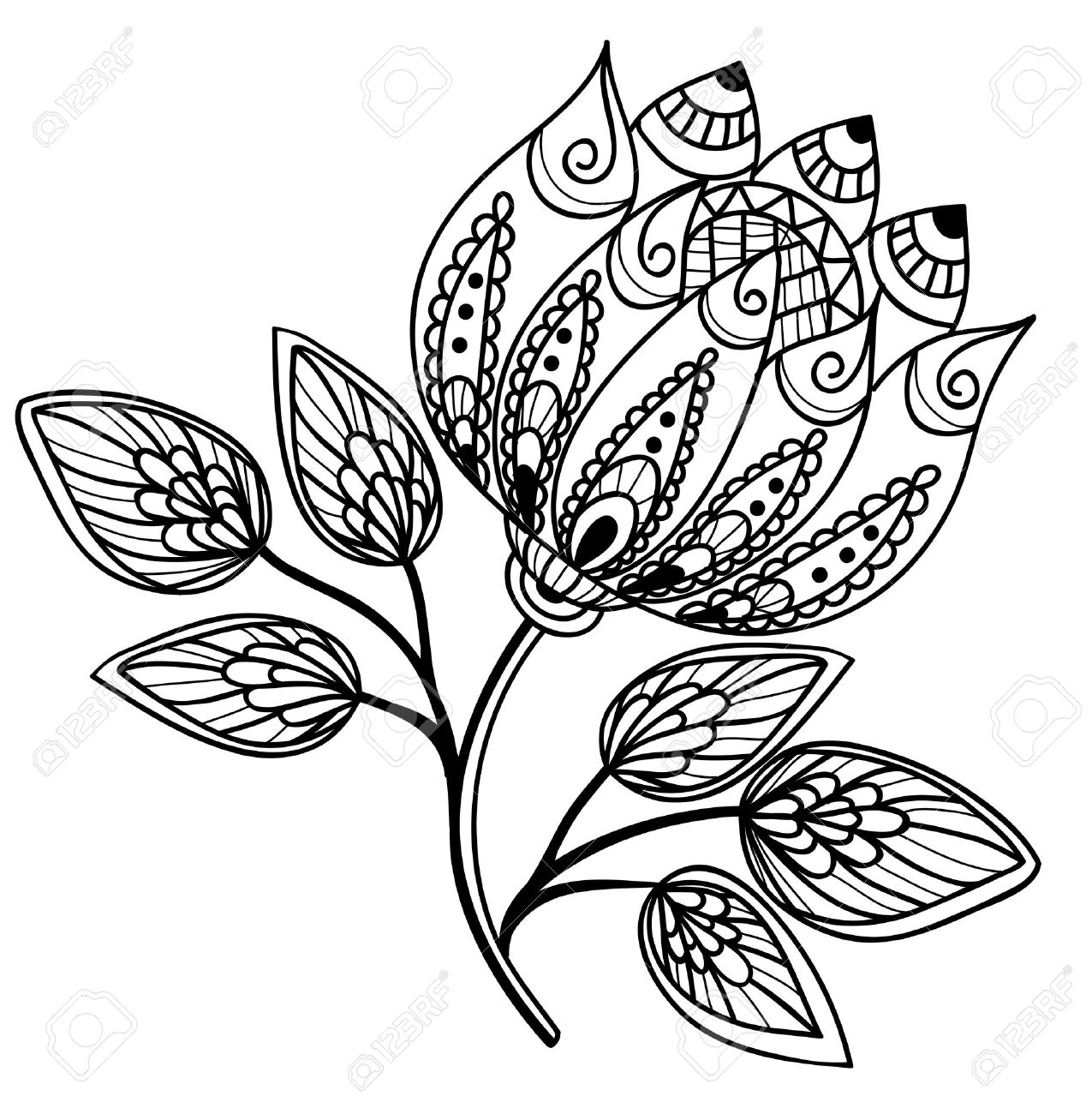 1275x1300 Beautiful Black And White Flower, Hand Drawing Royalty Free