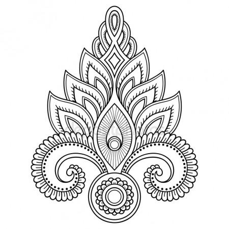 450x450 Henna Tattoo Flower Template In Indian Style. Ethnic Floral