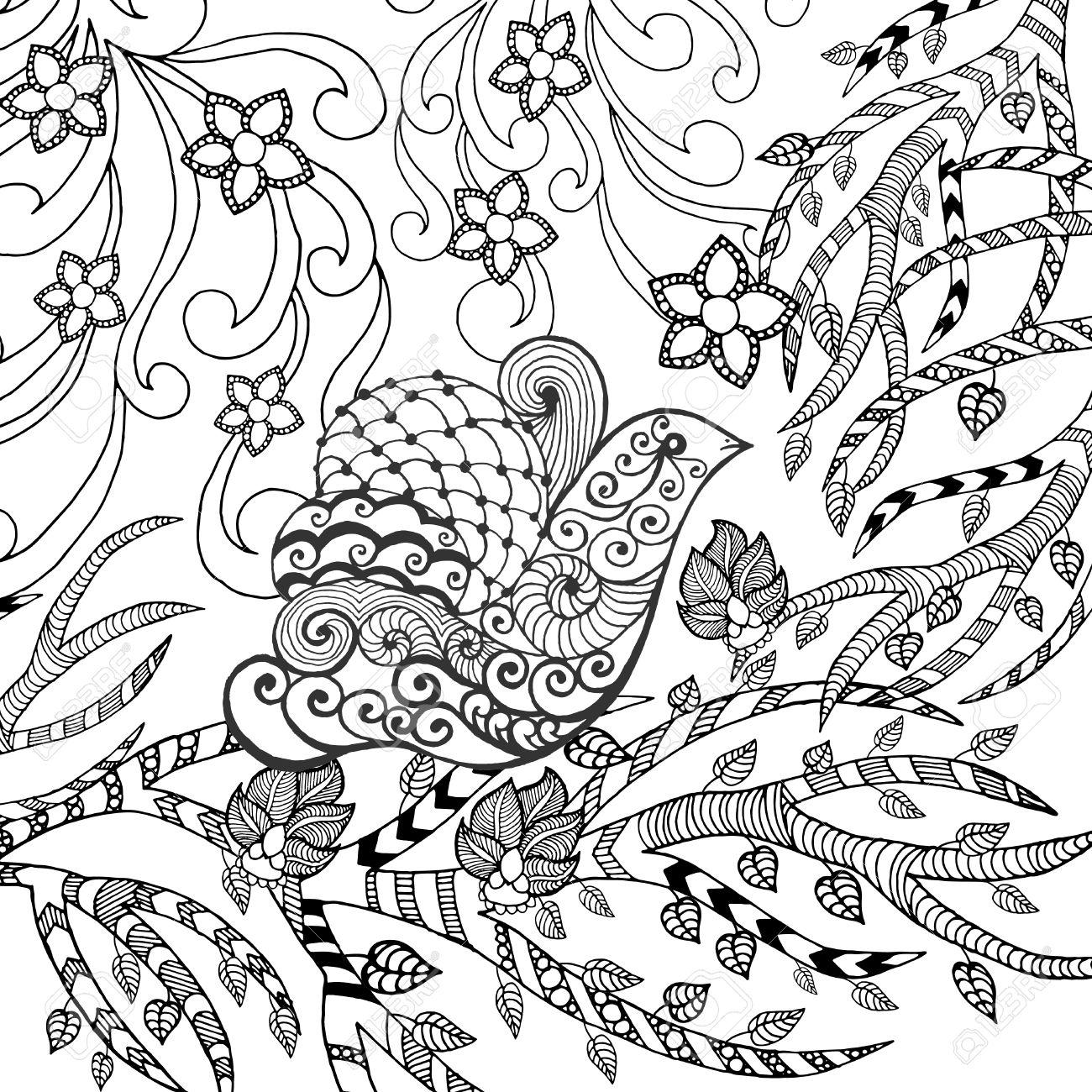 1300x1300 Bird In Flower Garden. Animals. Hand Drawn Doodle. Ethnic