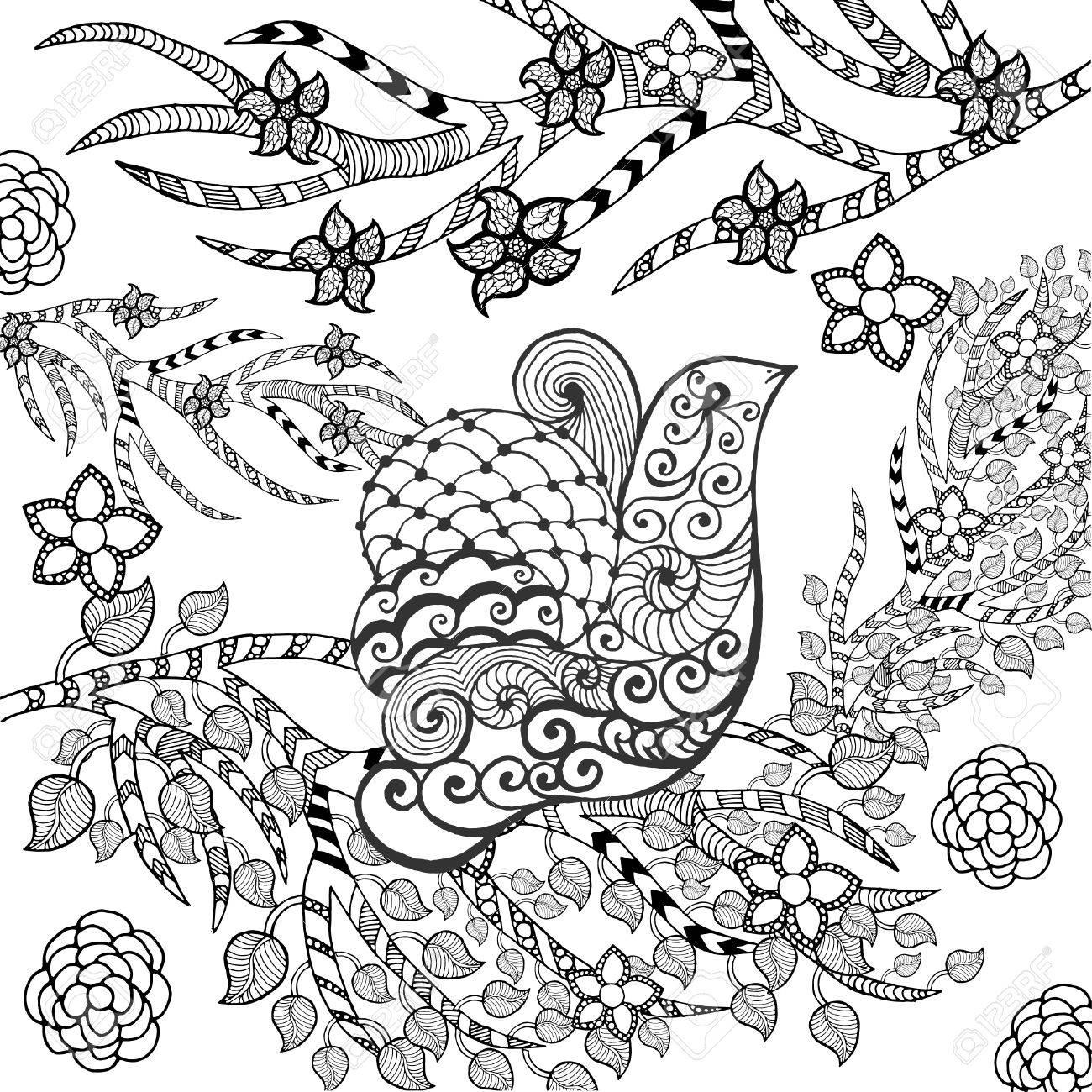 1300x1300 Cute Bird In Flower Garden. Animals. Hand Drawn Doodle. Ethnic