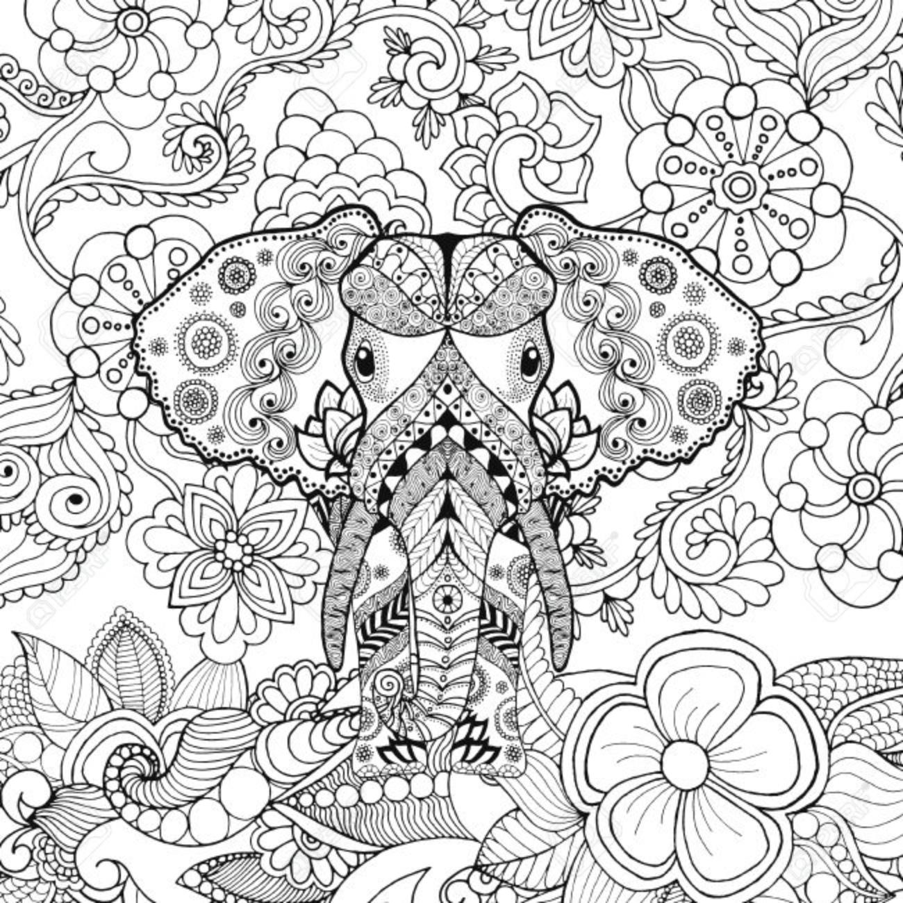 1300x1300 Cute Elephant In Flower Garden. Animals. Hand Drawn Doodle. Ethnic