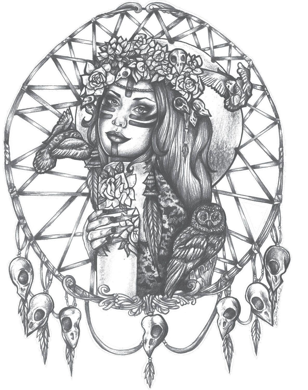1186x1500 Native American Indian Girl In Skull Dreamcatcher Print Bird