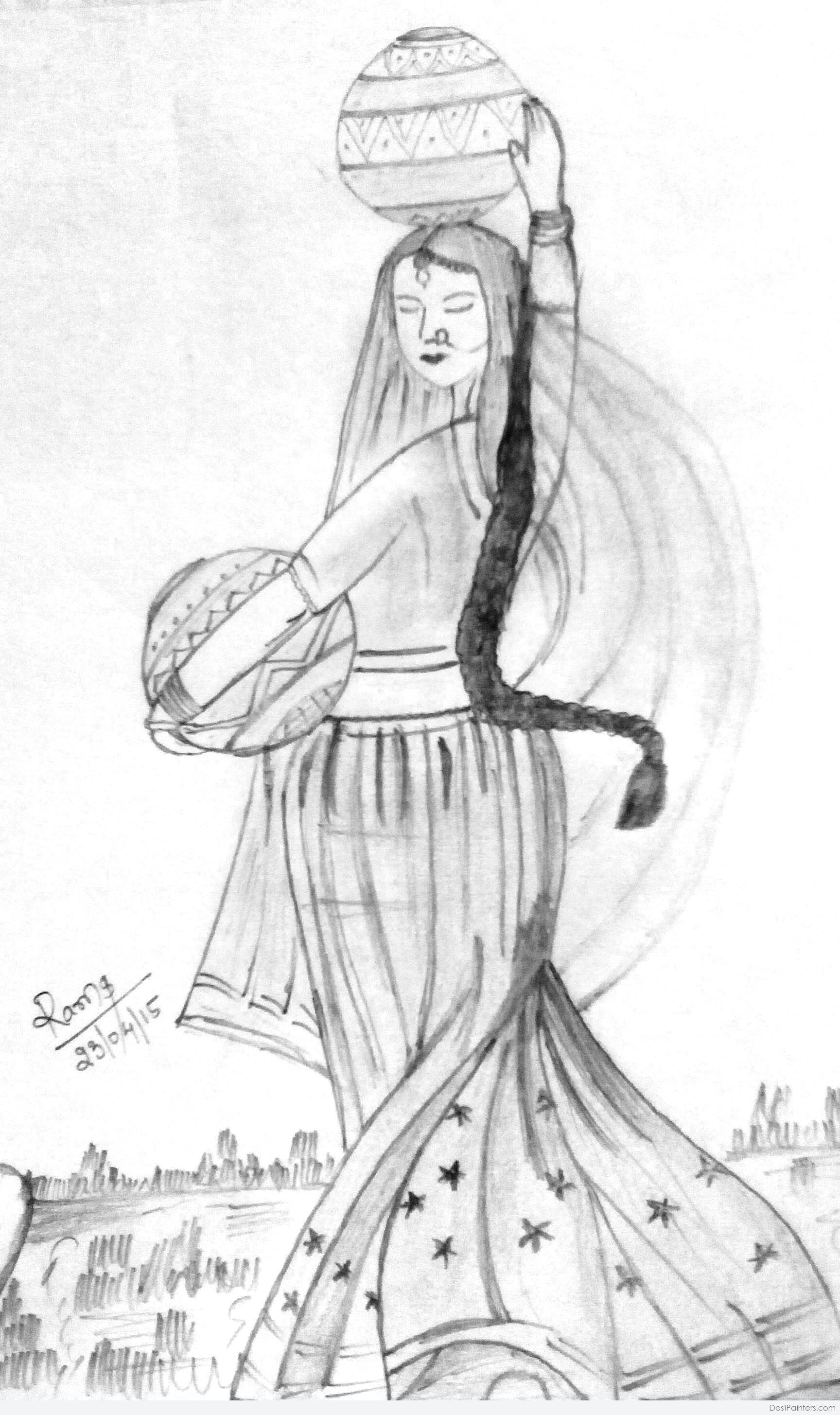 1728x2910 Pencil Sketch Rajasthani Girl Drawing