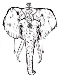 236x302 Drawn Head Indian Elephant