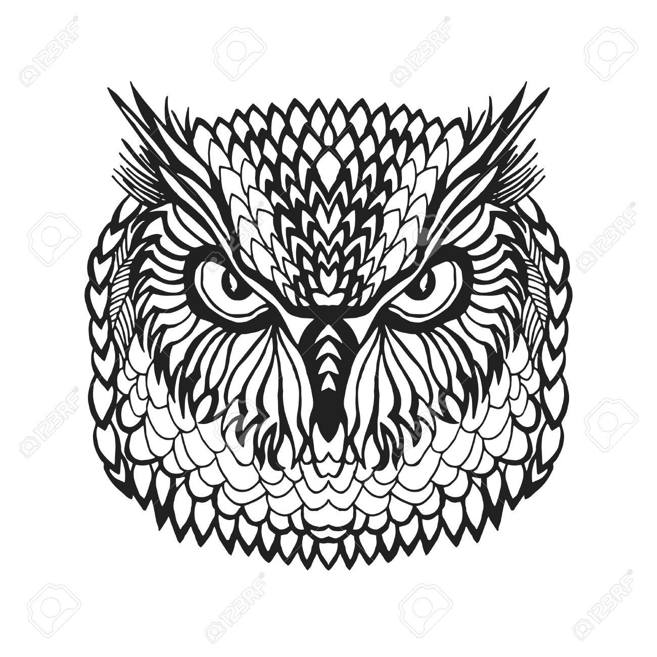 1300x1300 Zentangle Stylized Eagle Owl Head. Animals. Black White Hand Drawn