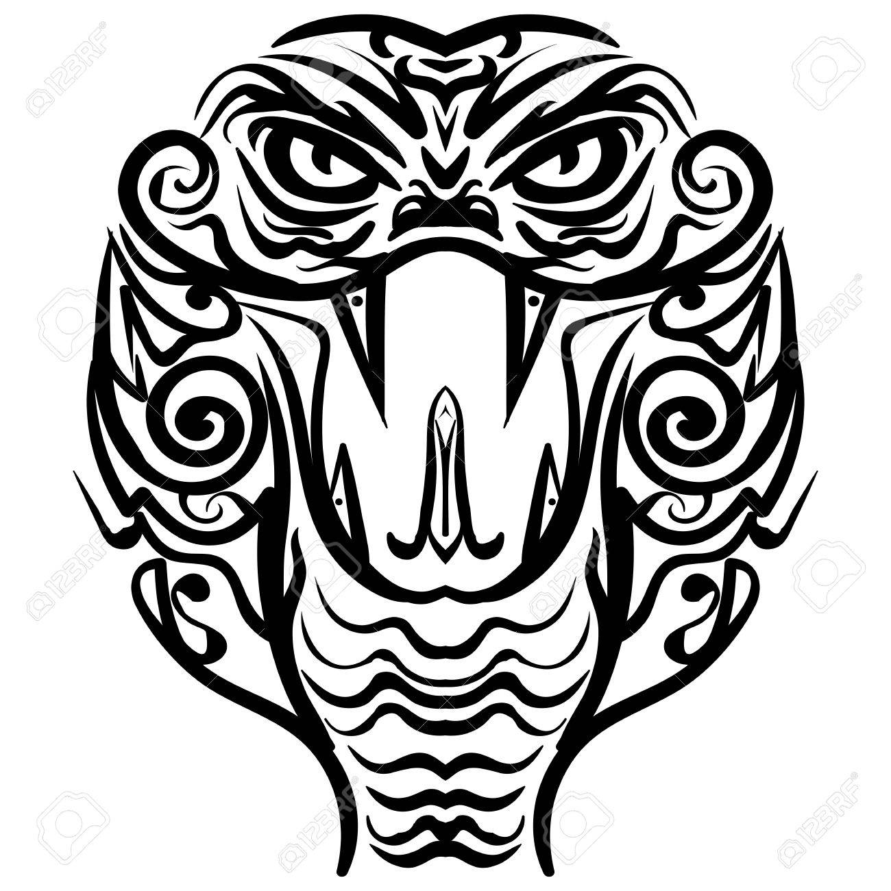 1300x1300 Cobra Head Sketch Tattoo. Patterned Colored Head Of The King
