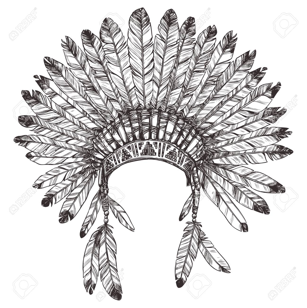 1299x1300 Hand Drawing Of Native American Indian Headdress. Royalty Free