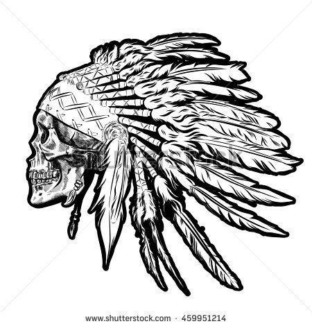 450x470 Hand Drawn Native American Indian Feather Headdress With Human