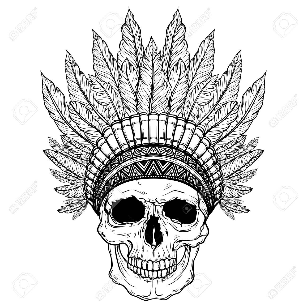 1300x1300 Hand Drawn Native American Indian Headdress With Human Skull