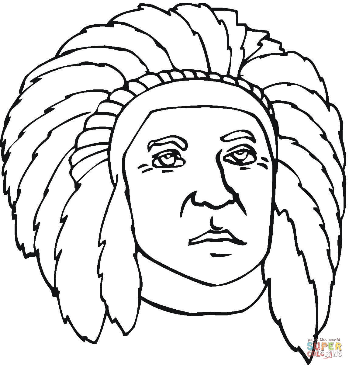 1148x1200 Indian Headdress Coloring Page