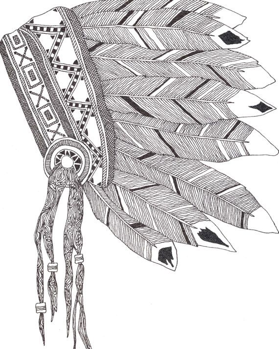 570x713 Native American Headdress Print Native American Headdress