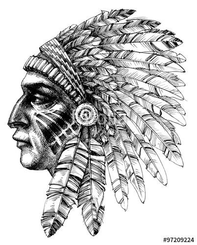 402x500 Native American Indian Warrior Profile With War Headdress, T Shi