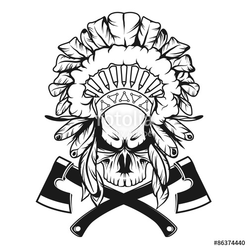 500x500 Skull In Indian Headdress With Tomahawks. Stock Image And Royalty