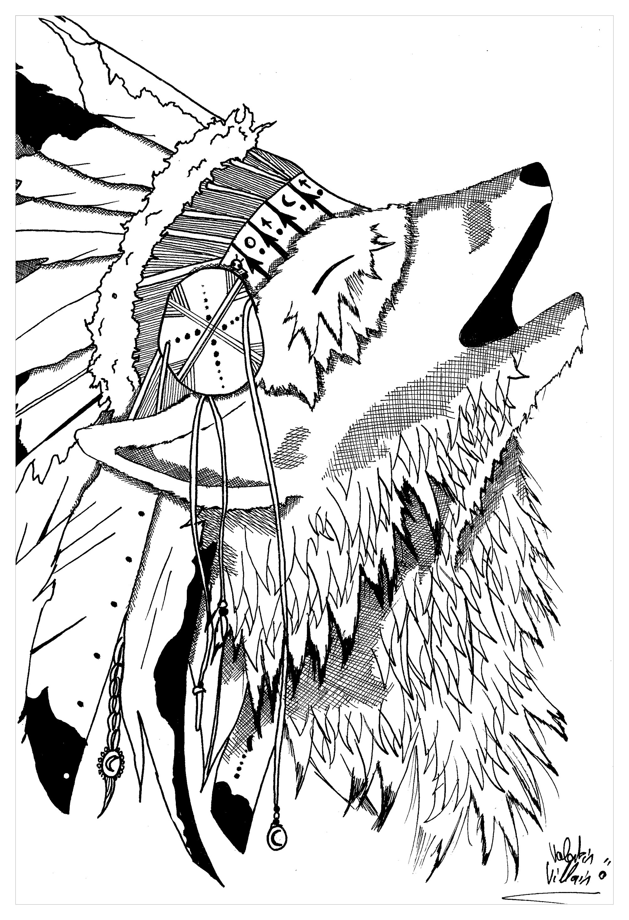 2000x2924 Wolf Par Valentin Native American