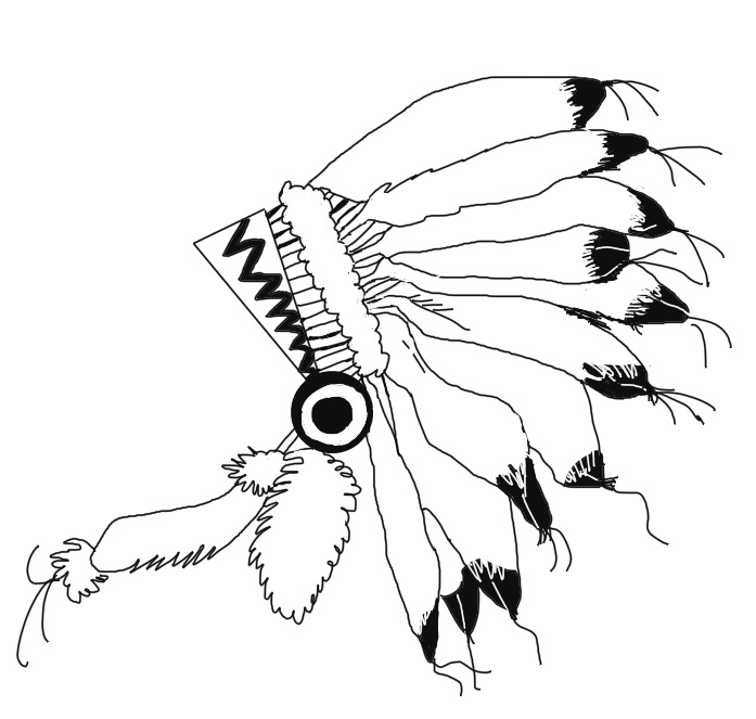 697x663 Indian Headdress Clipart Black And White