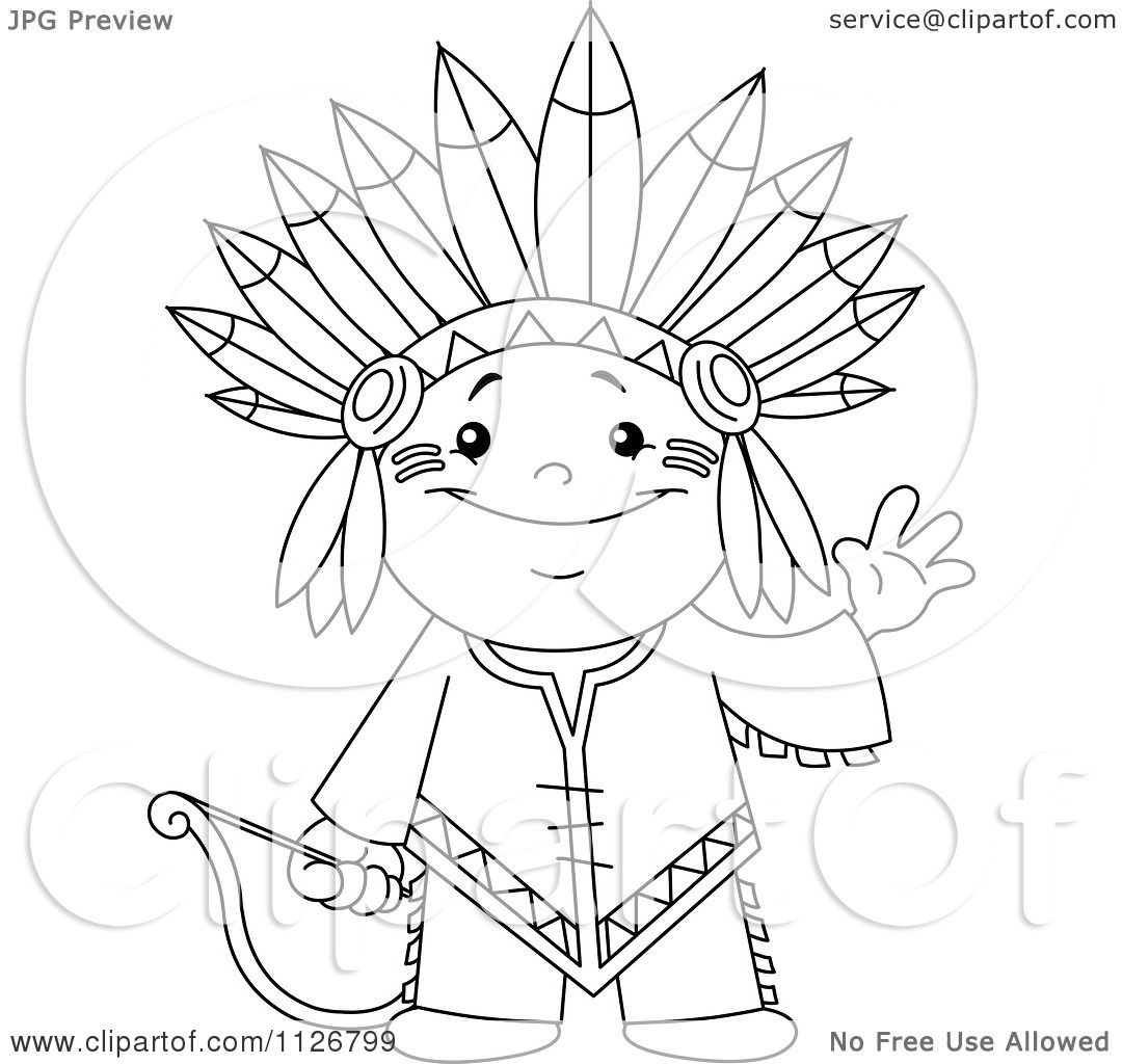 1080x1024 Cartoon Of A Outlined Cute Native American Indian Archer Boy