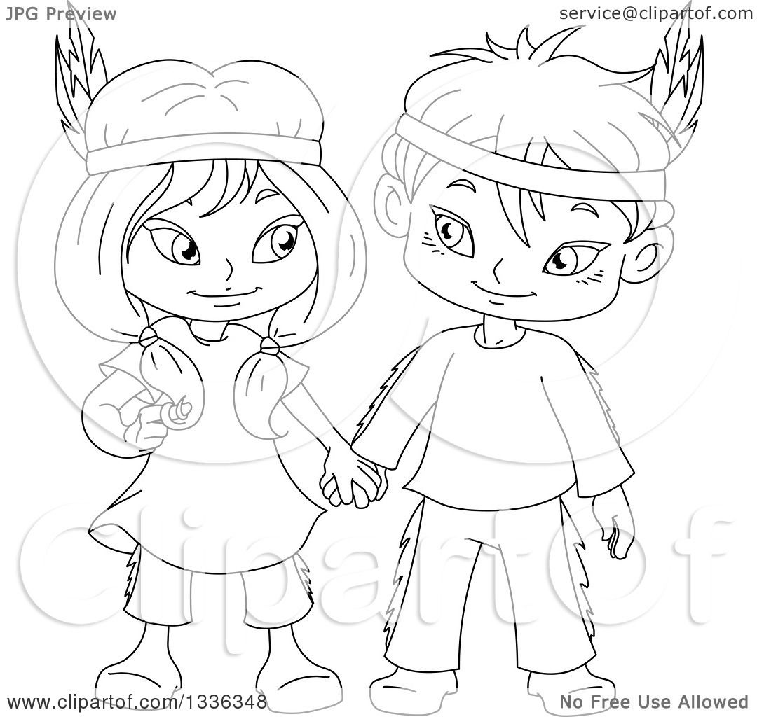 1080x1024 Clipart Of Cartoon Black And White Native American Indian Children