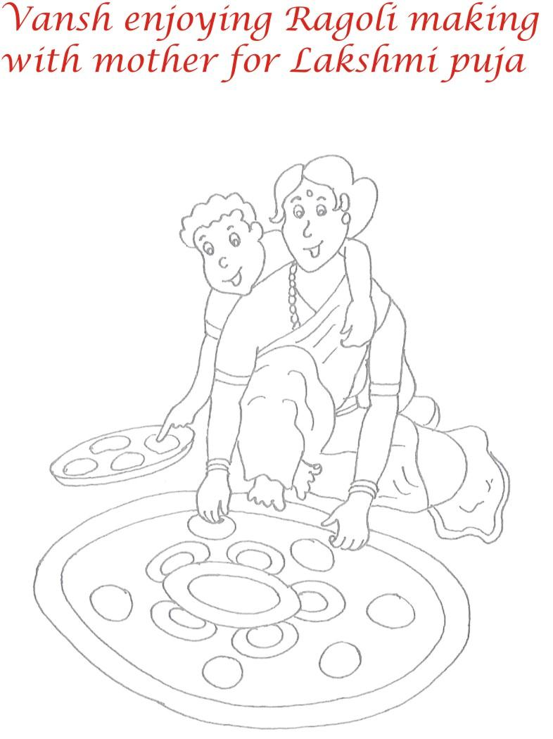 786x1050 Rangoli On Diwali Printable Coloring Page For Kids