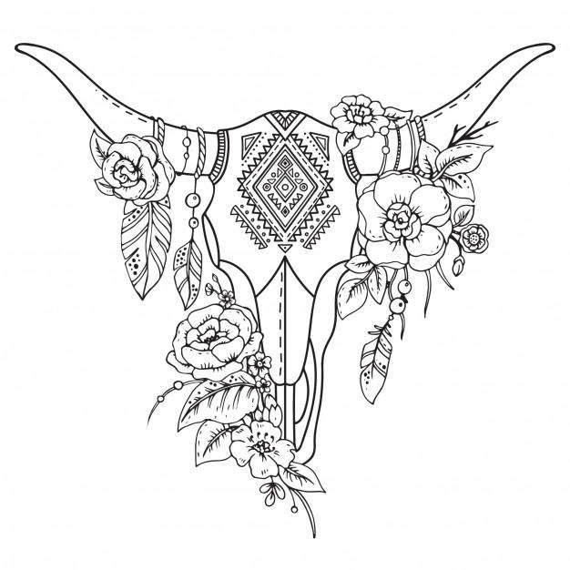 626x626 Decorative Floral Indian Bull Skull Vector Premium Download
