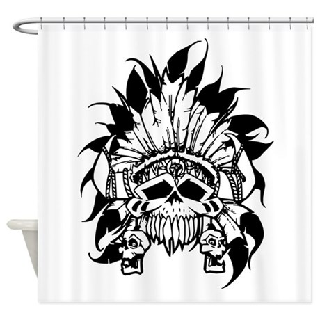 460x460 Indian Skull Headdress Shower Curtains Cafepress