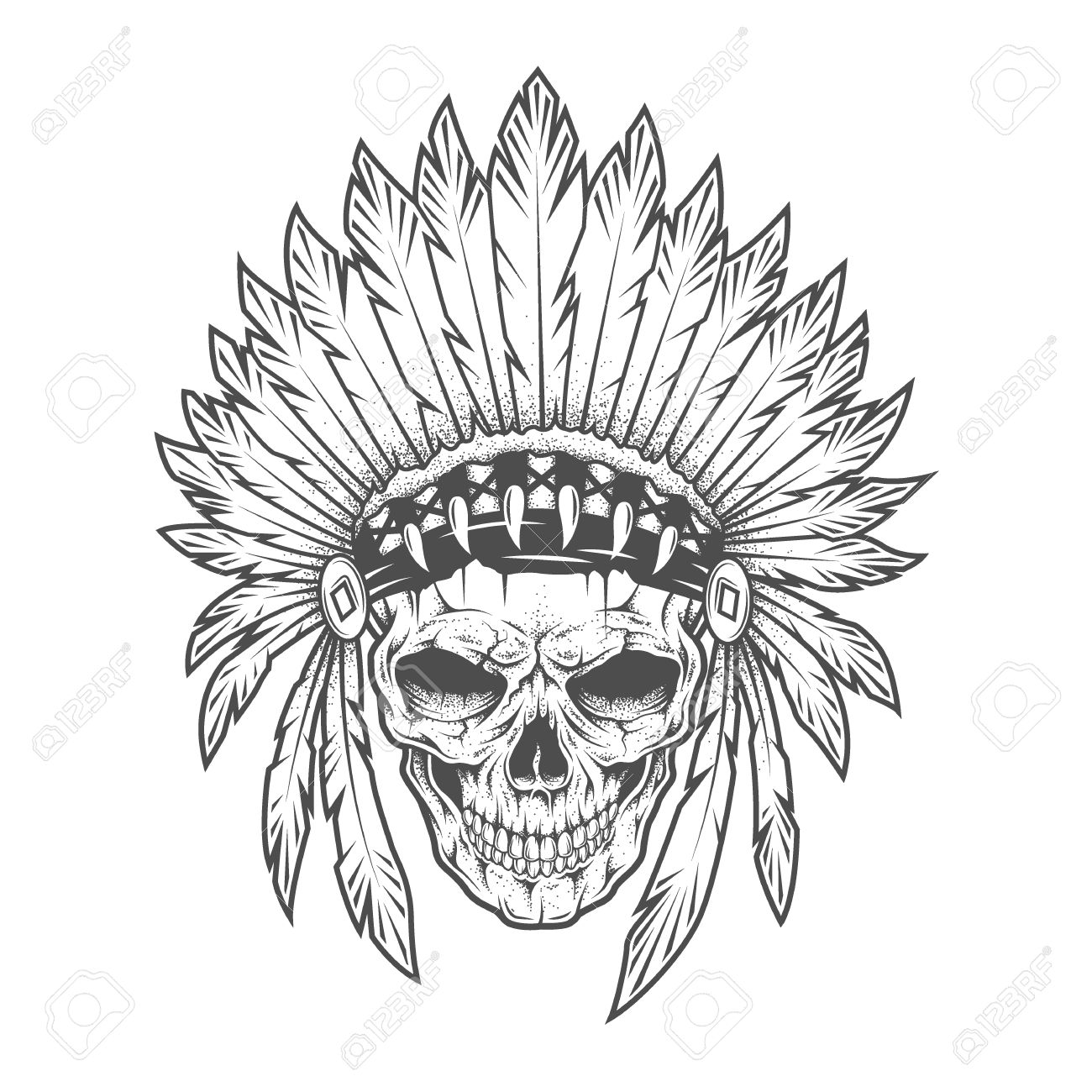 1300x1300 Indian Skull With Feathers Royalty Free Cliparts, Vectors,