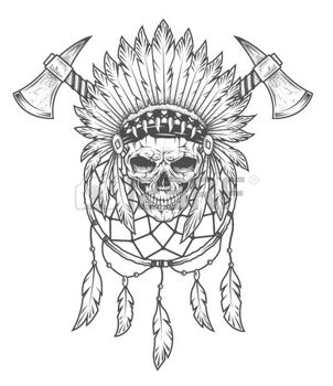 302x350 43558456 Indian Skull With Feathers Tomahawk And Dreamcatcher