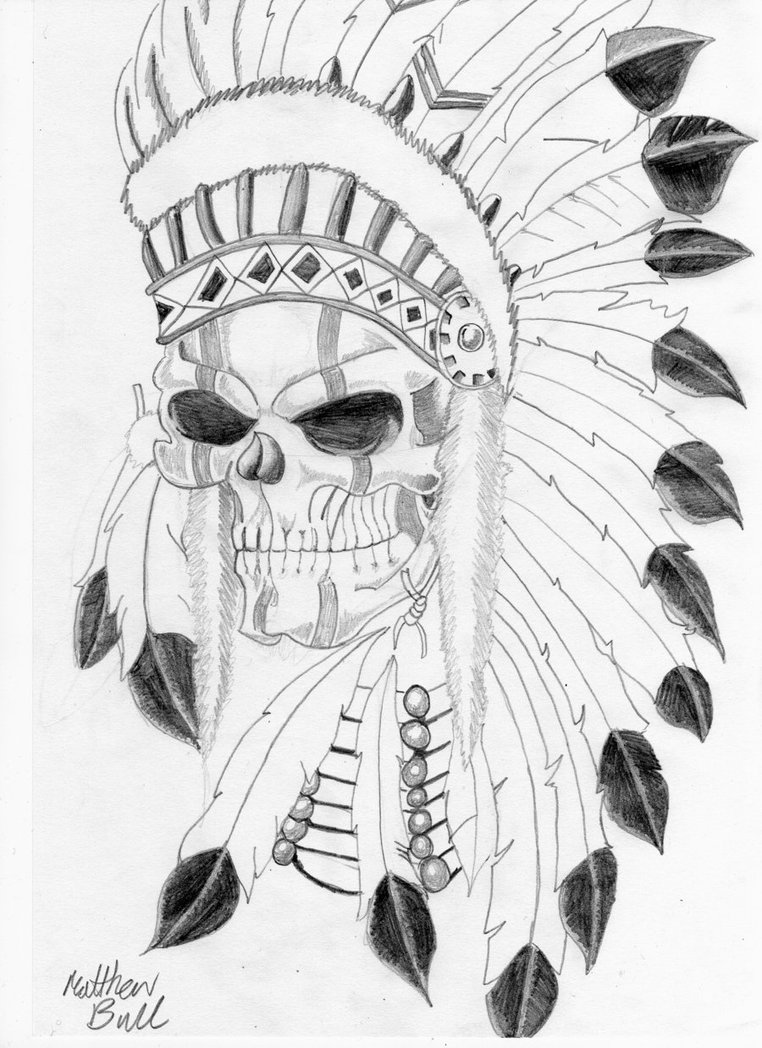 762x1048 Native Indian Skull Tattoo By Weemattyb