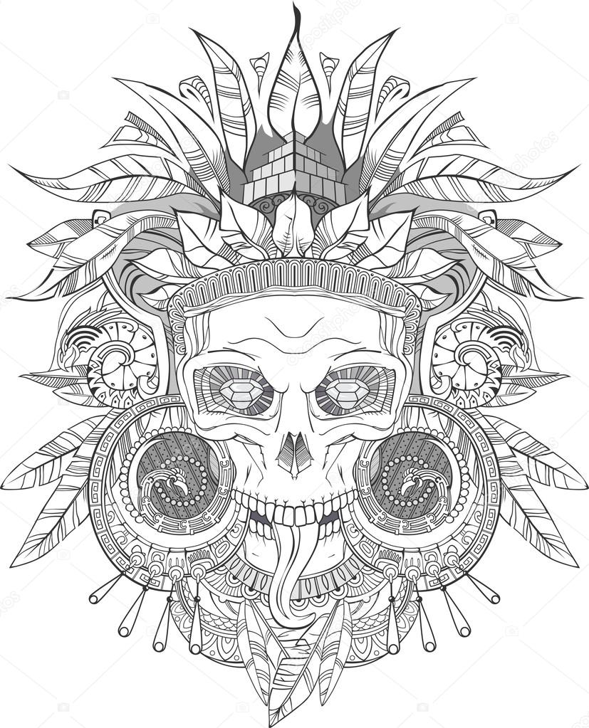 827x1023 Aztec Indian Skull Stock Vector Red Spruce