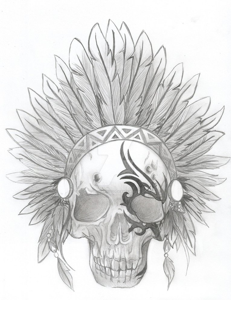 765x1044 Tribal Indian Skull Tattoo By Bethani1222