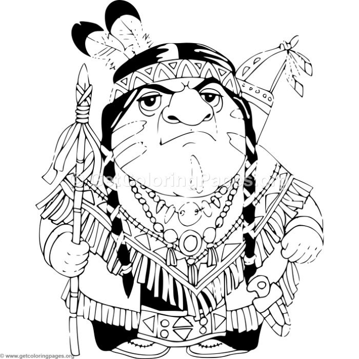 700x700 Cartoon Native Indian With Spear Coloring Pages