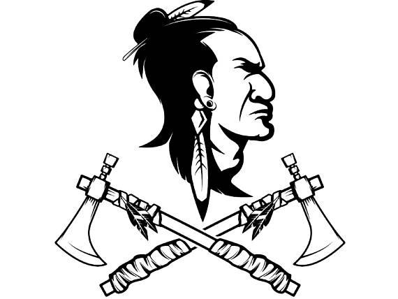 570x428 Indian Logo 8 Native American Warrior Skull Axe Tomahawk Axe