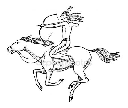 450x380 National American Indian Riding Horse With Spear In Hand