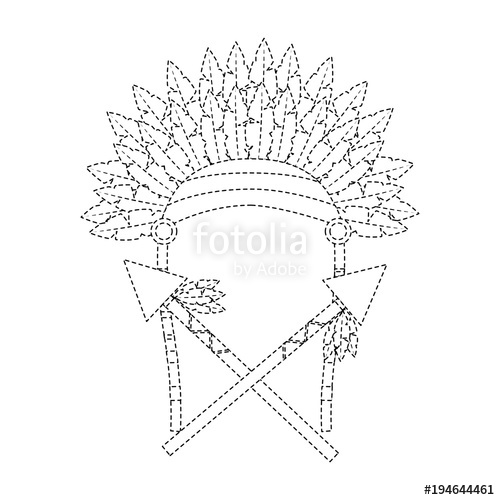 500x500 Headdress With Spears Native American Icon Image Vector