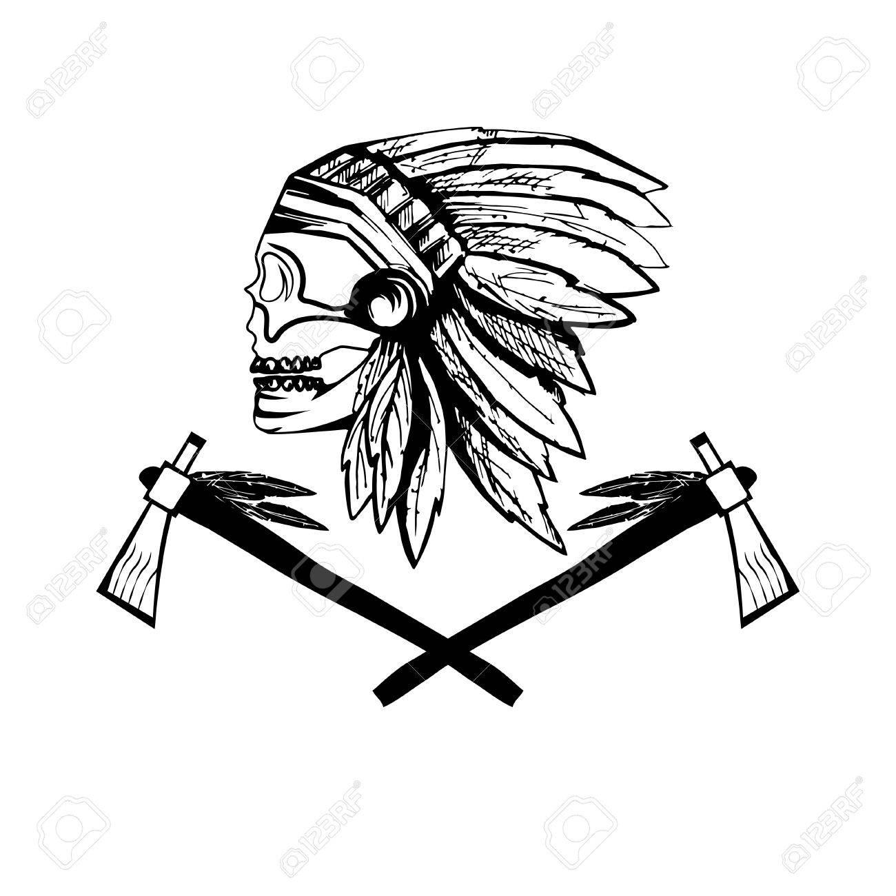 1300x1300 Native American Chief Skull In Tribal Headdress With Tomahawks