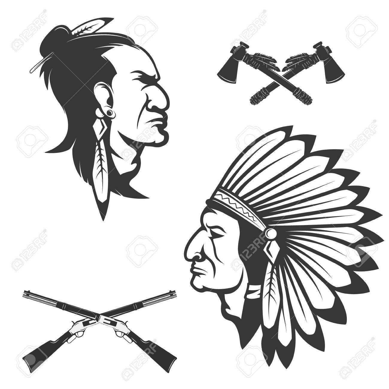 1300x1300 Set Of American Native Chief Heads. American Indians Headdress