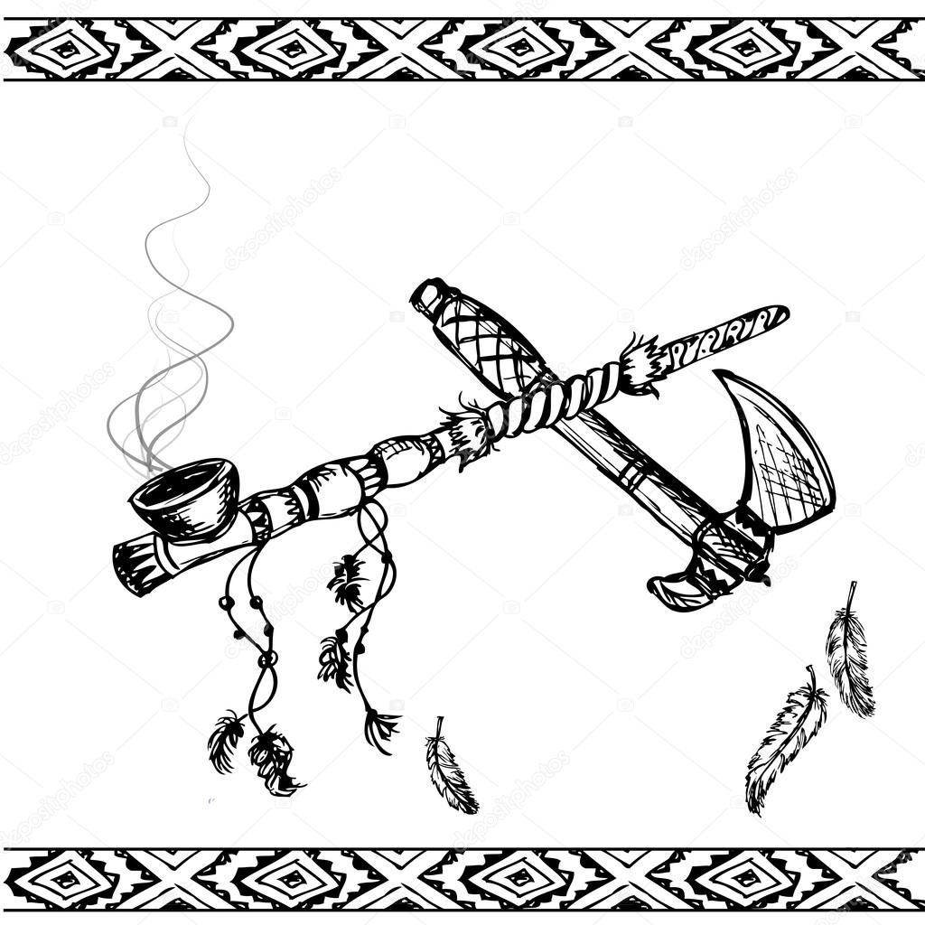 1024x1024 Traditional Native American Peace Pipe And Tomahawk Stock Vector