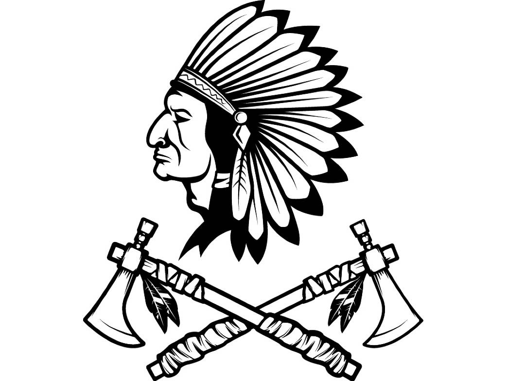 1043x784 Indian Logo 10 Native American Warrior Tomahawk Axe Headdress