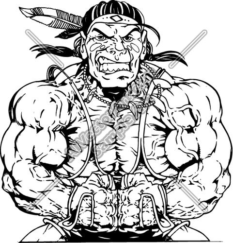 481x500 Muscular Native American Sports Mascot Warrior Clipart