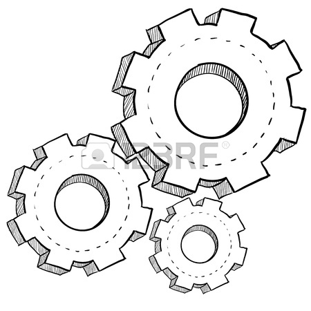 450x450 Doodle Style Gears, Cogs, Or Settings Vector Illustration Stock