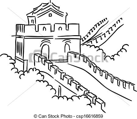450x392 Great Wall In China For Travel And Journey Industry Design Clipart
