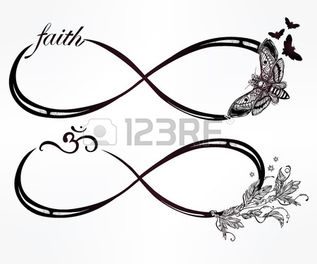 450x375 Hand Drawn Intricare Infinity Sign Set In Vintage Retro Style