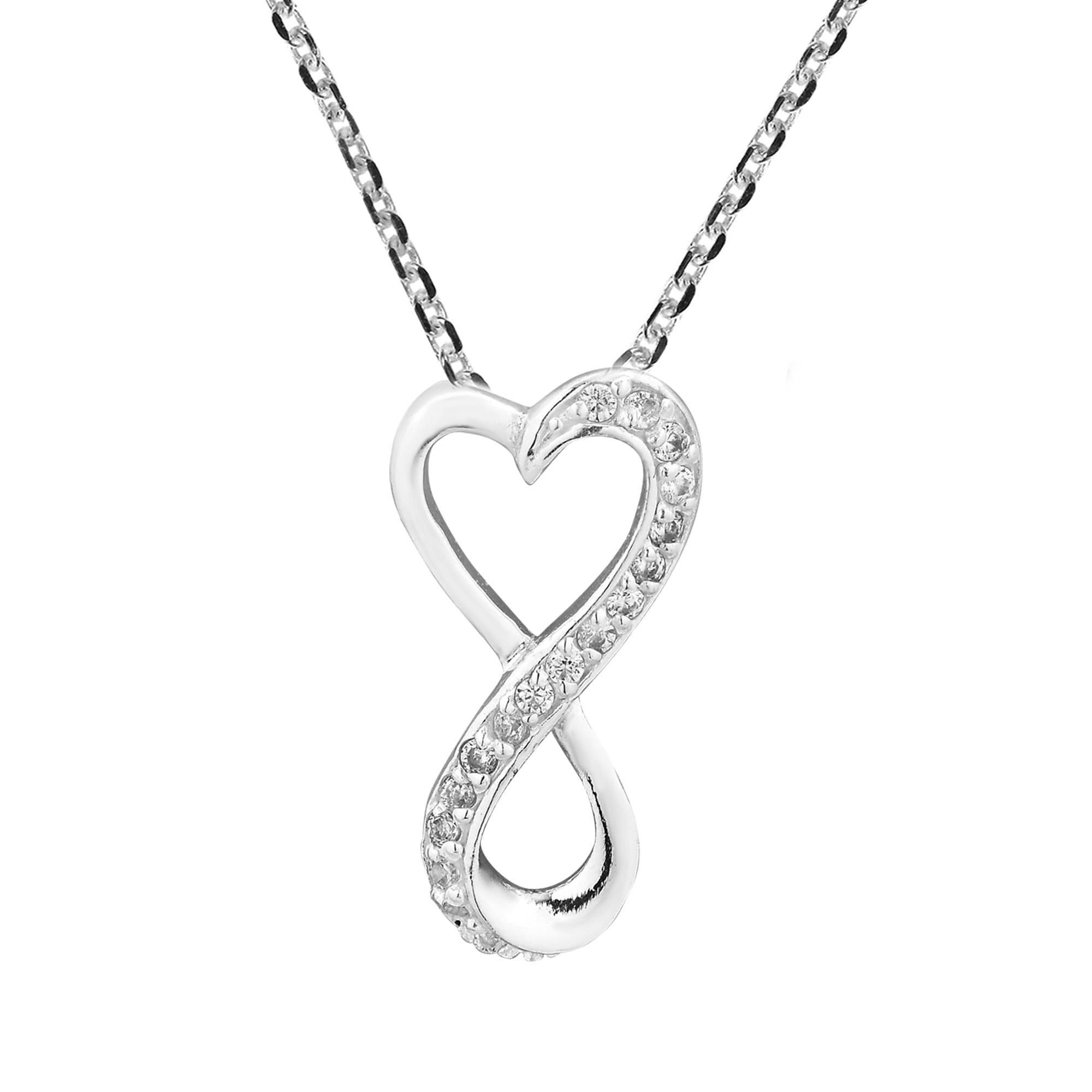2000x2000 Everlasting Love Infinity Heart Sterling Silver Chain Necklace