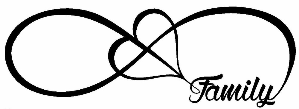 1000x366 Family Love Heart Infinity Forever Symbol Vinyl Decal Car Window