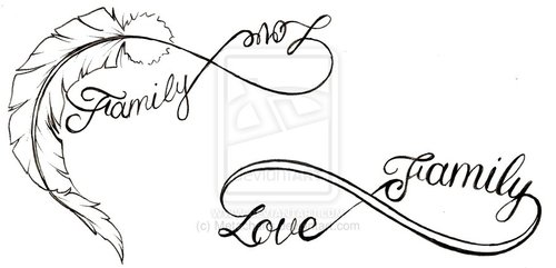 500x241 Feather Love And Family Infinity Symbol Quotes