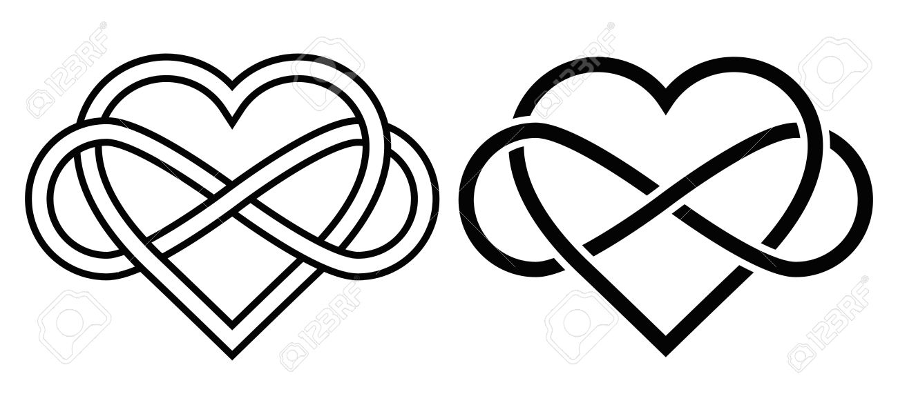 1300x600 Intertwined Heart With The Sign Of Infinity. Love Forever Royalty