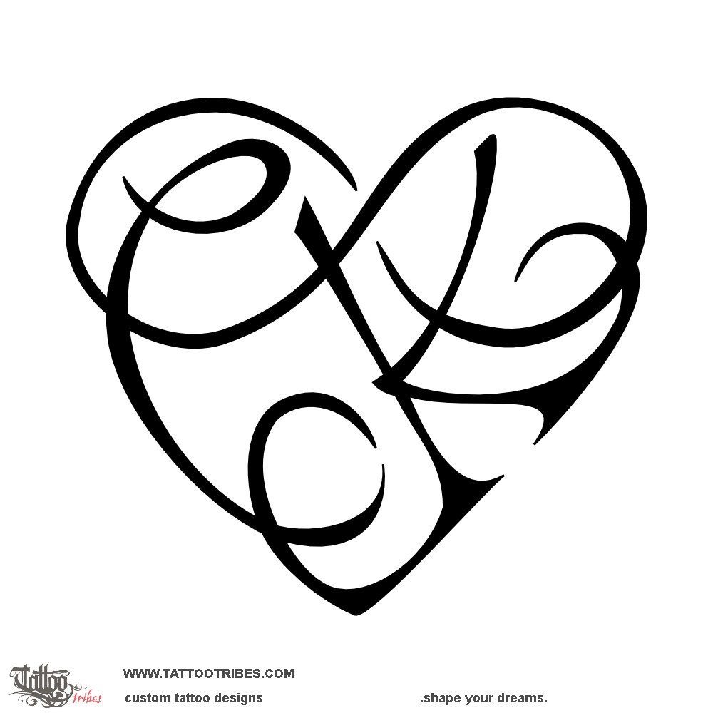1000x1000 Tattoo Of C k Heart, Infinity Tattoo