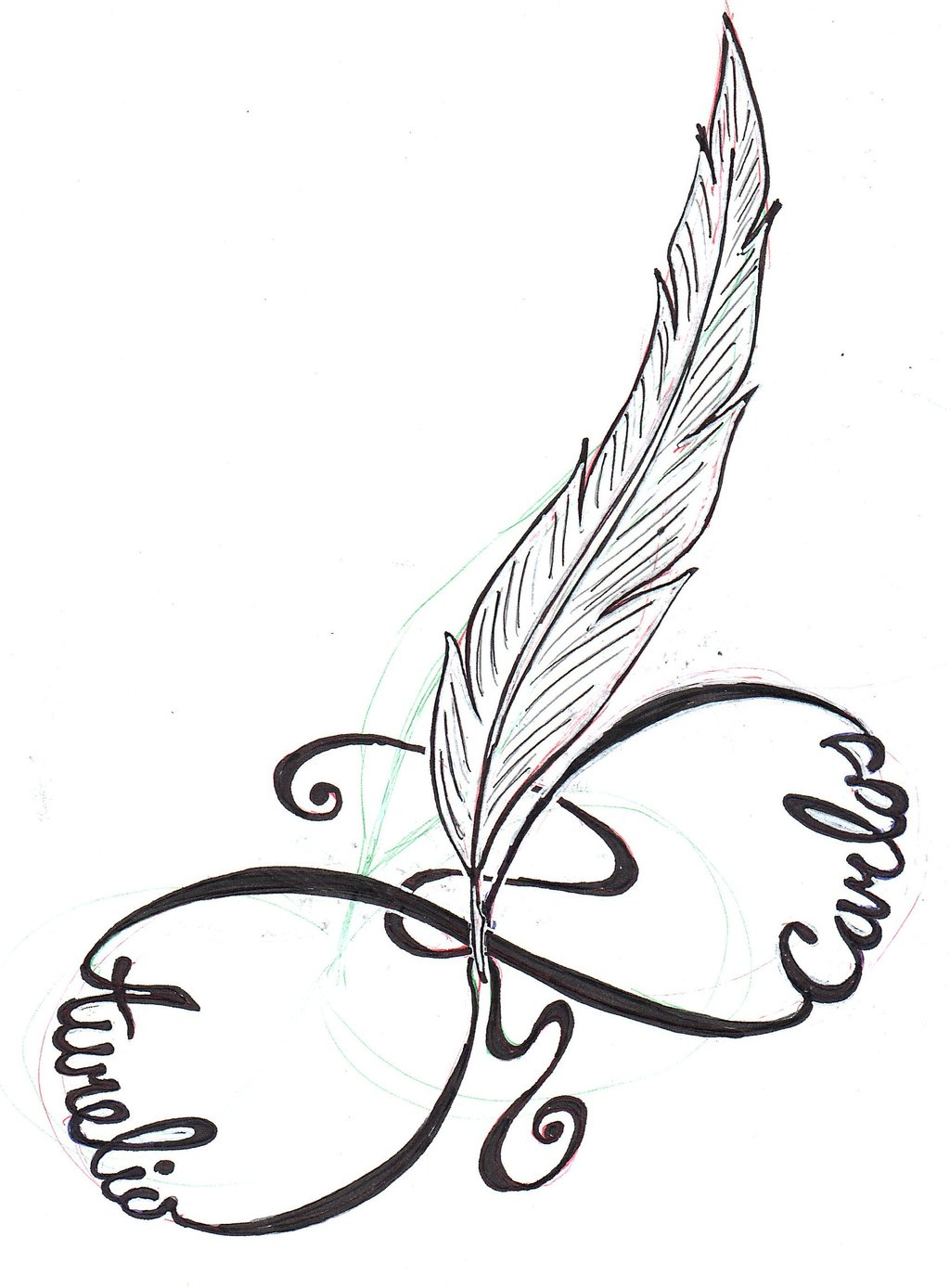 1024x1388 Feather Infinity Tattoo Design By Slk Grafix