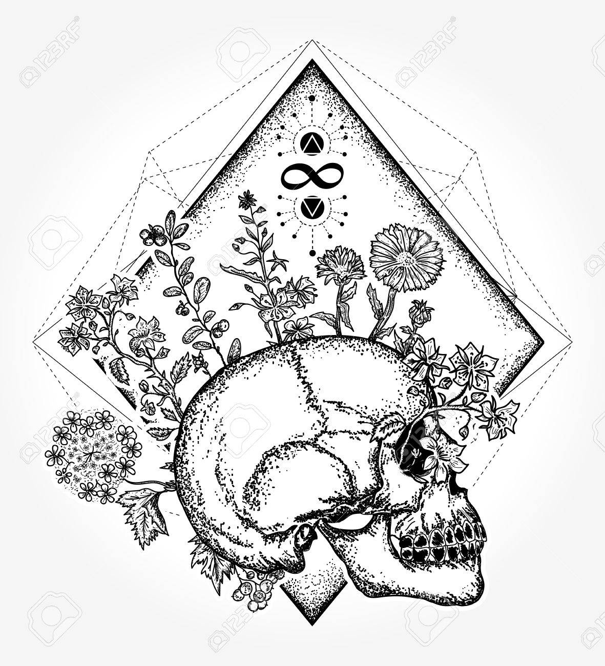 1181x1300 Magic Skull Tattoo And T Shirt Design. Human Skull Through Which