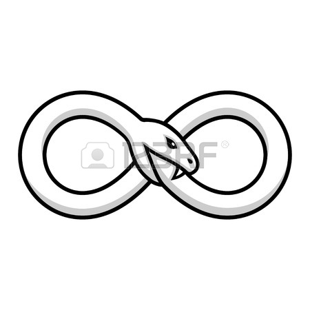 450x450 Ouroboros Symbol, Snake Curled In Infinity Symbol Eating Its